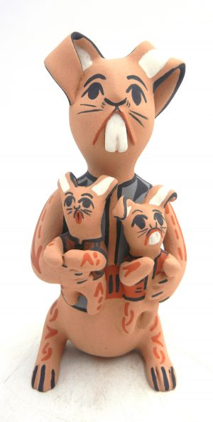 Jemez handmade rabbit storyteller figurine with two babies by Bonnie Fragua