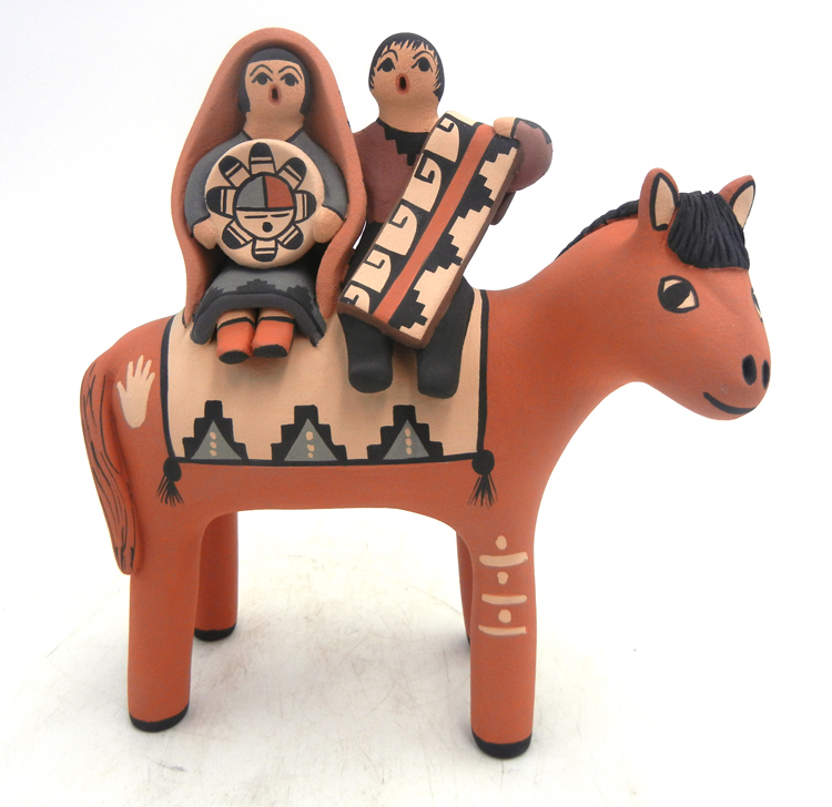 Jemez horse figurine with two children by Linda Lucero Fragua