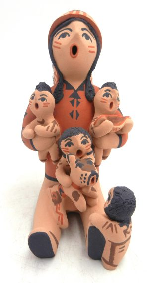 Jemez Chief storyteller figurine with four children and dog by Bonnie Fragua