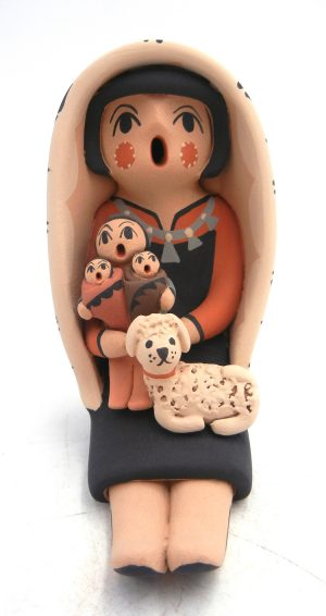 Jemez seated storyteller figurine with three children and dog by Chrislyn Fragua