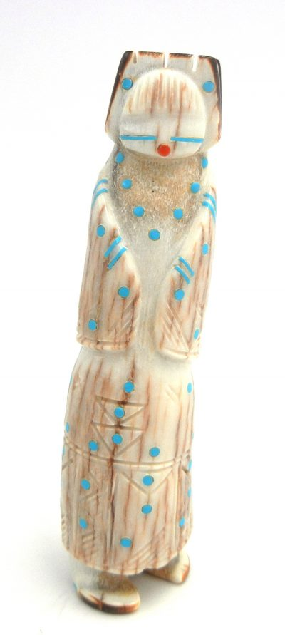 Zuni carved elk antler maiden fetish with turquoise accents by Calvin Peina