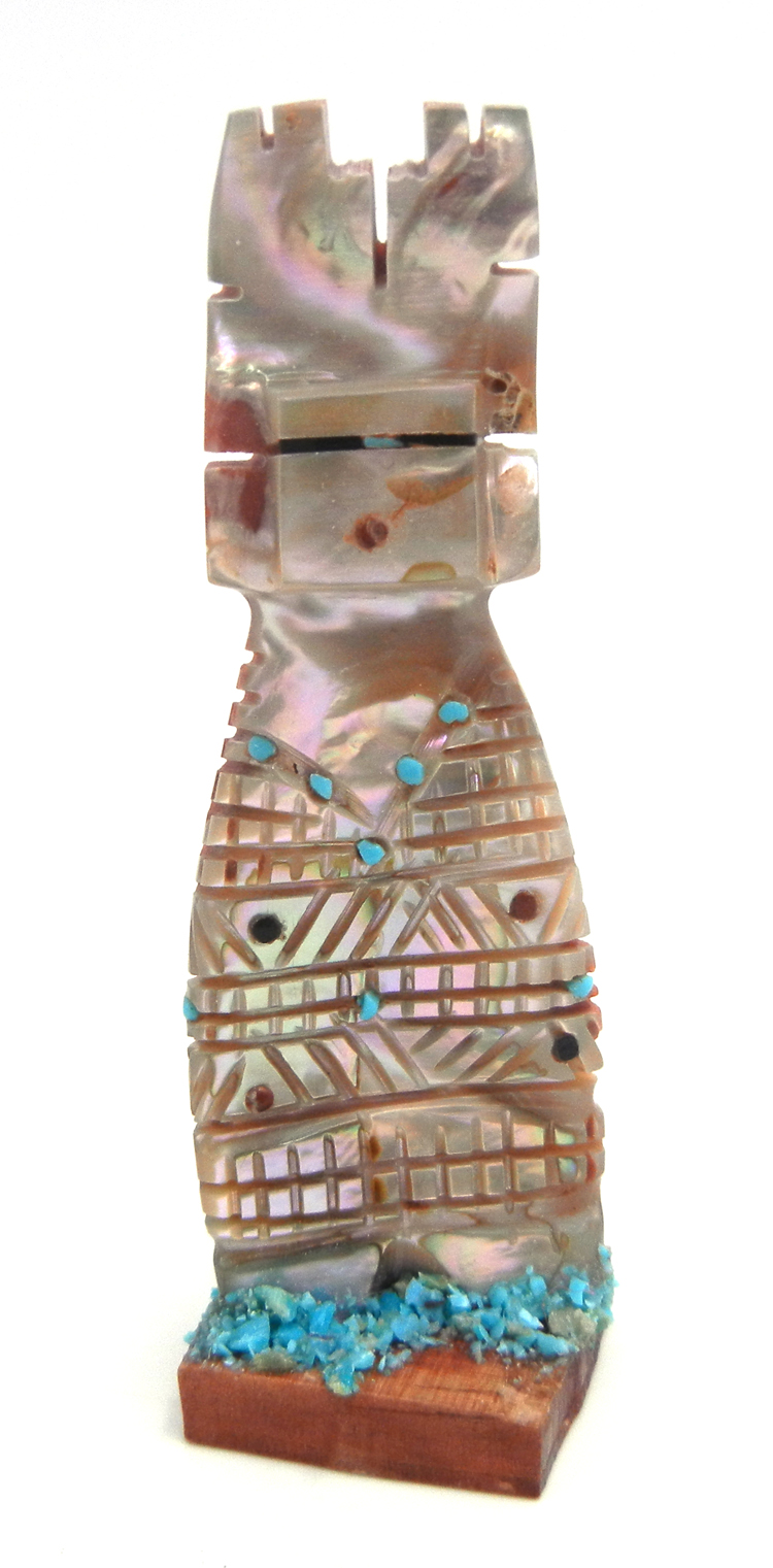 Zuni carved abalone corn maiden fetish with turquoise accents by Carl Etsate