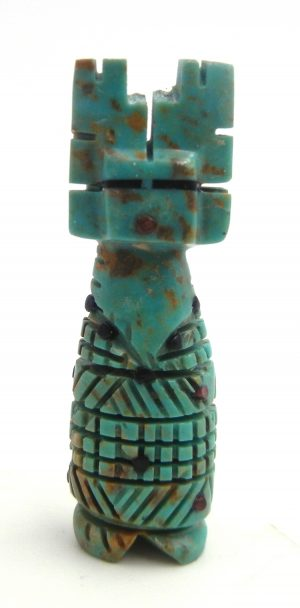 Zuni small carved stone turquoise corn maiden fetish by Carl Etsate