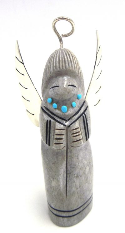 Zuni carved elk antler angel fetish with sterling silver and turquoise accents by Claudia Peina