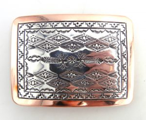 Navajo stamped sterling silver and copper belt buckle by Sylvana Apache and Randy Secatero