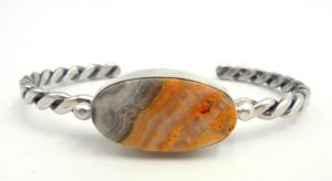 Navajo bumblebee jasper and sterling silver cuff bracelet with rope pattern shank