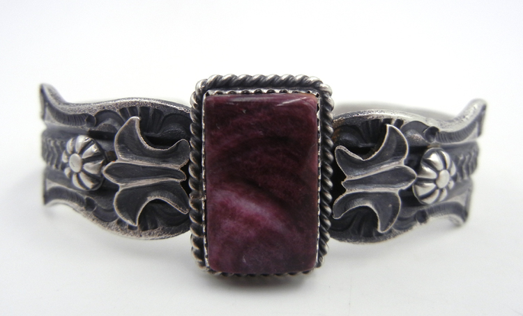 Navajo purple spiny oyster shell and sandcast sterling silver cuff bracelet by Kevin Billah