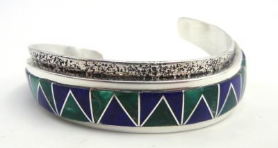 Navajo lapis, malachite, and sterling silver inlay cuff bracelet with curved shank by Gilbert Nelson