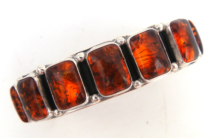 Navajo amber and sterling silver row cuff bracelet