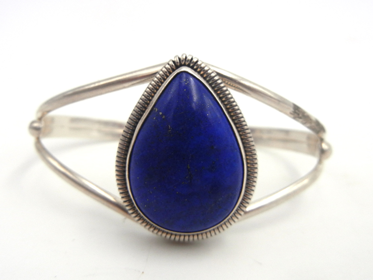 Navajo lapis and sterling silver cuff bracelet by Rydell Billie