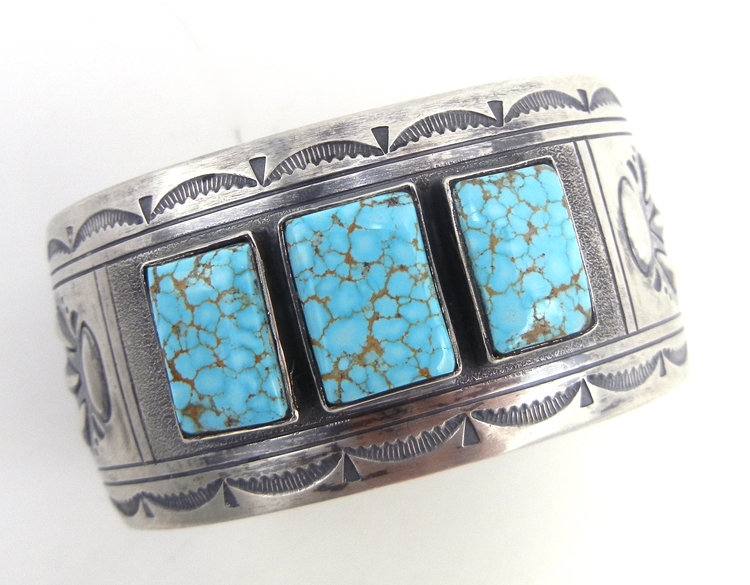 Navajo three stone Kingman turquoise and sterling silver wide band cuff bracelet