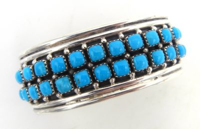 Navajo sterling silver and turquoise double row cuff bracelet