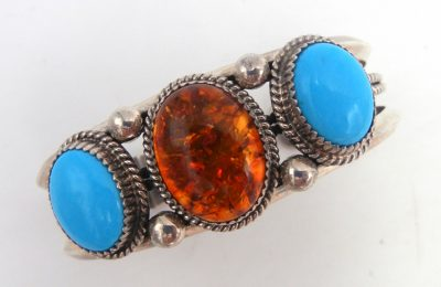 Navajo turquoise, amber, and sterling silver cuff bracelet by Garrison Boyd
