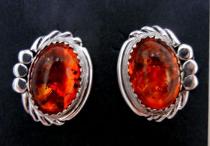 Navajo amber and sterling silver post earrings