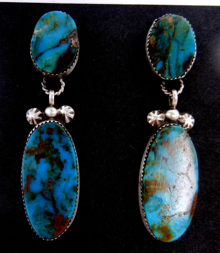 Navajo double turquoise and sterling silver dangle earrings by Selina Warner