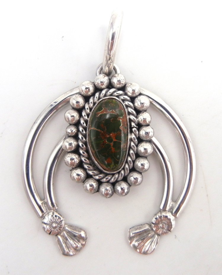 Navajo green turquoise and sterling silver naja pendant by Robert Yellowhorse