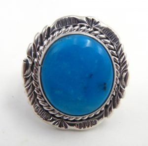 Navajo round turquoise and sterling silver ring