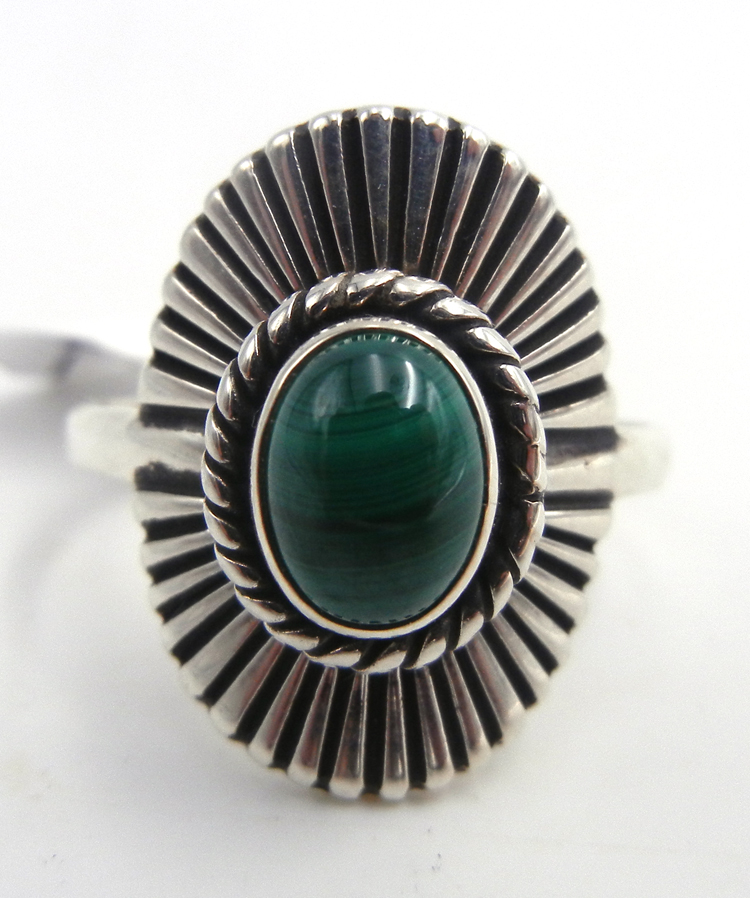 Navajo malachite and sterling silver ring