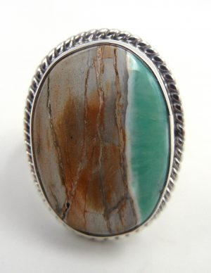 Navajo Boulder turquoise and sterling silver ring