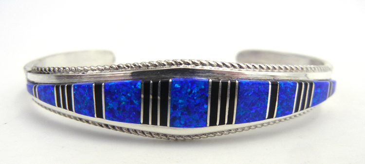Zuni blue lab opal, jet, and sterling silver channel inlay cuff bracelet