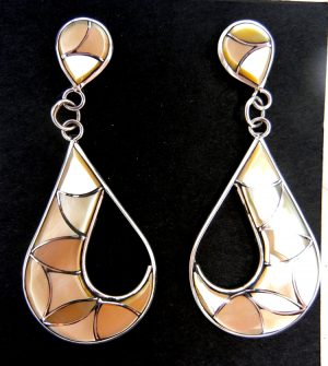 Zuni golden mother of pearl and sterling silver inlay dangle earrings