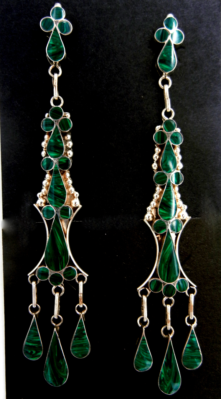 Zuni large malachite and sterling silver inlay dangle earrings