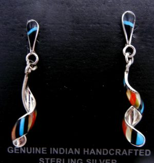 Zuni small multi-stone inlay and sterling silver spiral dangle earrings