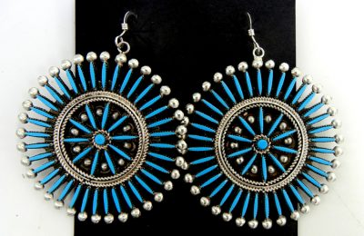 Zuni turquoise needlepoint and sterling silver circle earrings by Iva Booqua