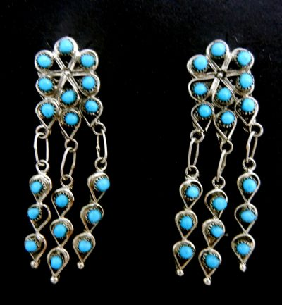 Zuni turquoise petit point and sterling silver cluster dangle earrings