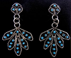 """Zuni turquoise petit point and sterling silver """"leaf"""" earrings"""