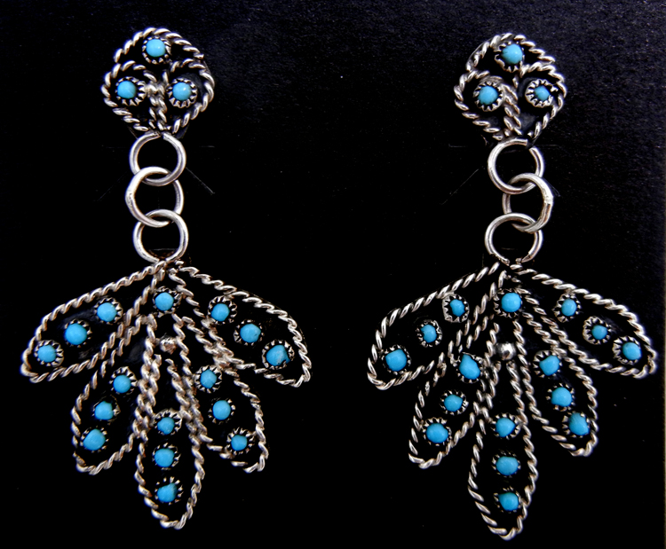 Zuni turquoise petit point and sterling silver