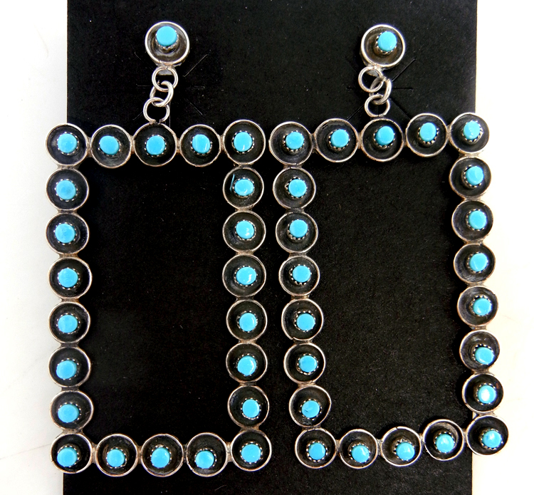 Zuni turquoise petit point and sterling silver rectangular dangle earrings