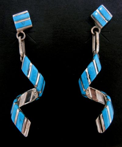 Zuni turquoise and sterling silver inlay spiral dangle earrings