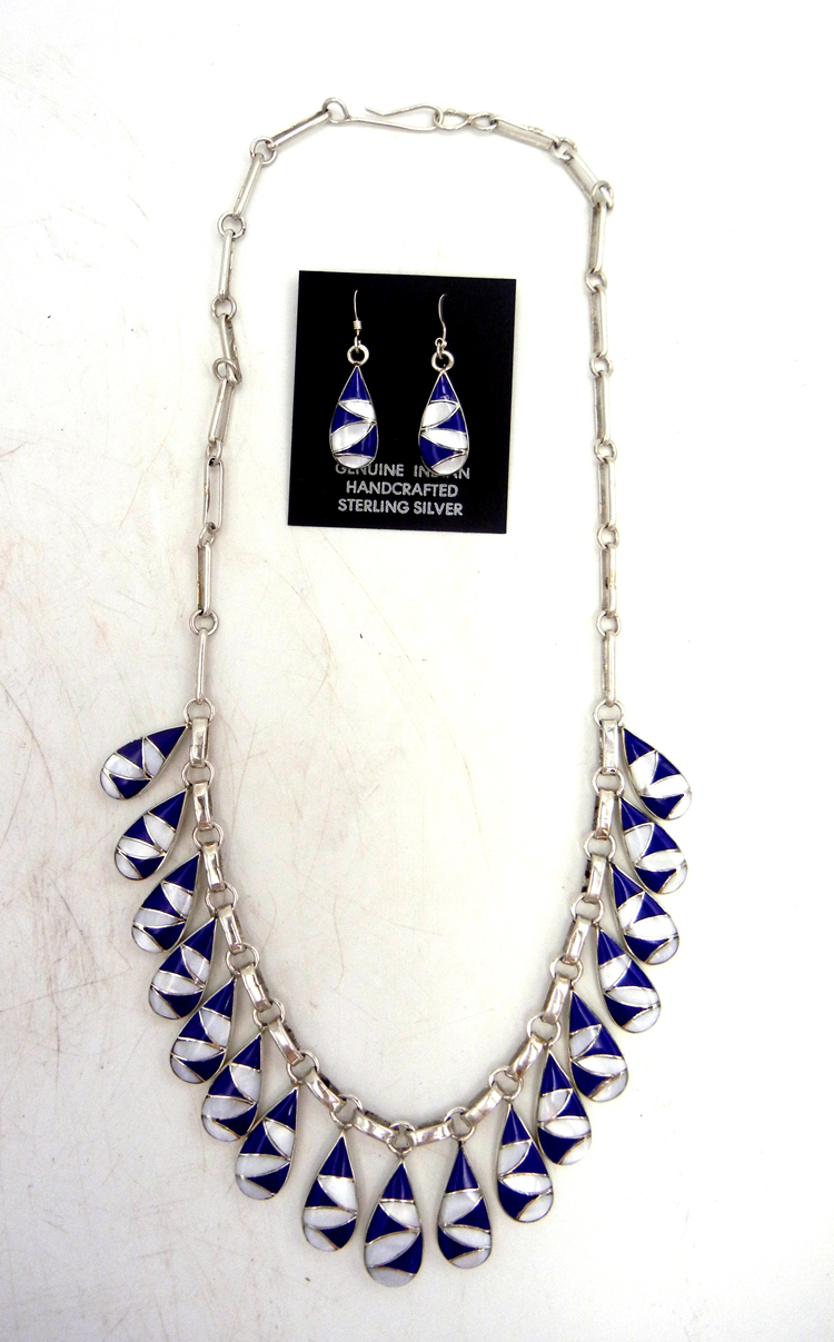 Zuni lapis, white mother of pearl, and sterling silver inlay necklace and earring set by Orlinda Natewa