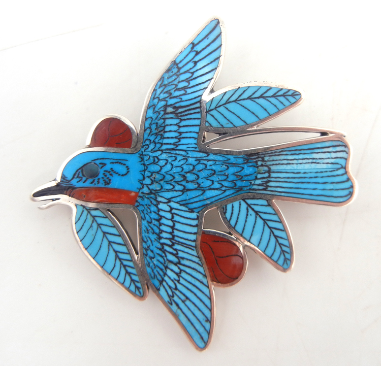 Zuni multi-stone inlay and sterling silver Eastern Blue Bird pin/pendant