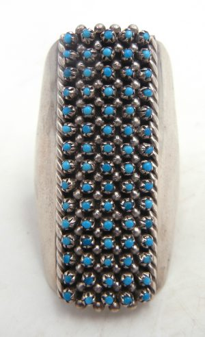Zuni large turquoise snake eye and sterling silver ring