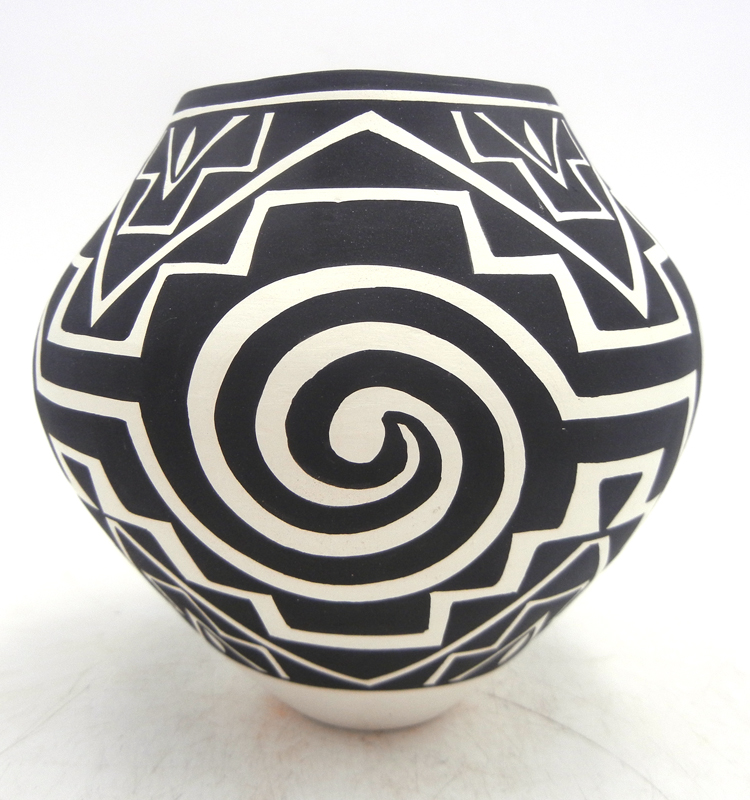Acoma small black and white handmade and hand painted multi-pattern weather design jar by Kathy Victorino