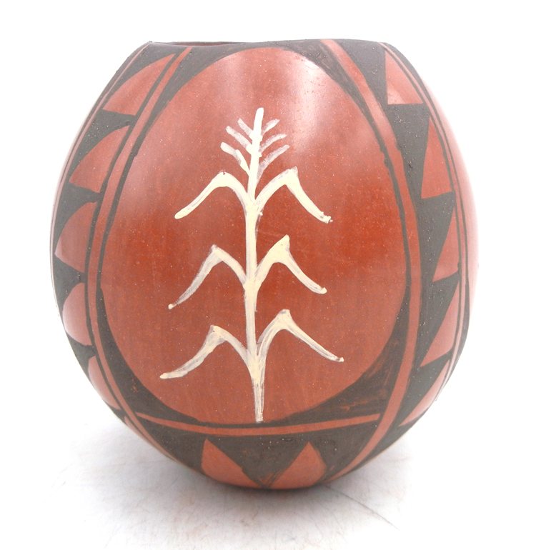 Jemez handmade and hand painted red polished corn stalk and weather pattern jar by Juanita Fragua