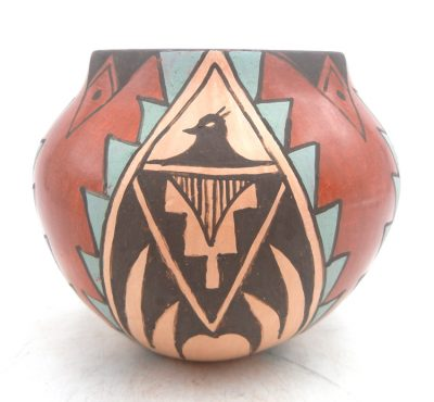 Jemez handmade and hand painted polychrome thunderbird pattern bowl by Juanita Fragua