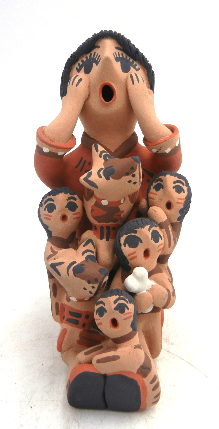 Jemez seated storyteller figurine with four children and two dogs by Bonnie Fragua