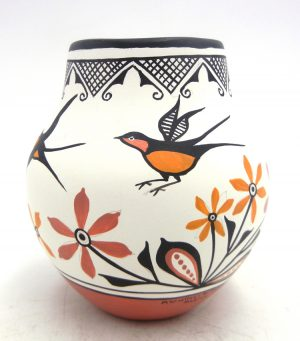 Zia handmade and hand painted small polychrome bird and floral design jar by Elizabeth and Marcellus Medina