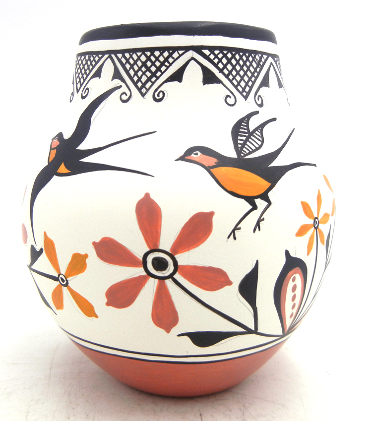 Zia small polychrome handmade and hand painted bird and floral design jar by Elizabeth and Marcellus Medina