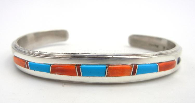 Navajo turquoise, spiny oyster shell, coral and sterling silver channel inlay cuff bracelet by Wayne Muskett