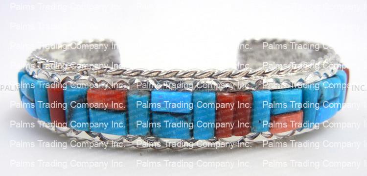 Navajo multi-stone cornrow inlay and sterling silver cuff bracelet