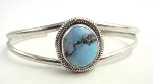 Navajo Dry Creek turquoise and sterling silver cuff bracelet by Rydell Billie
