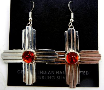 Navajo amber and sterling silver large Zia symbol dangle earrings
