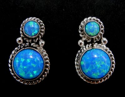 Navajo small blue lab opal and sterling silver earrings
