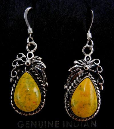 Navajo small bumblebee jasper and sterling silver dangle earrings