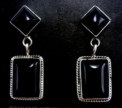 Navajo onyx and sterling silver dangle earrings