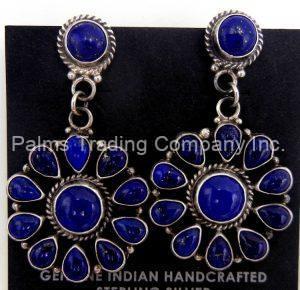Navajo lapis and sterling silver cluster dangle earrings by Tyler Brown